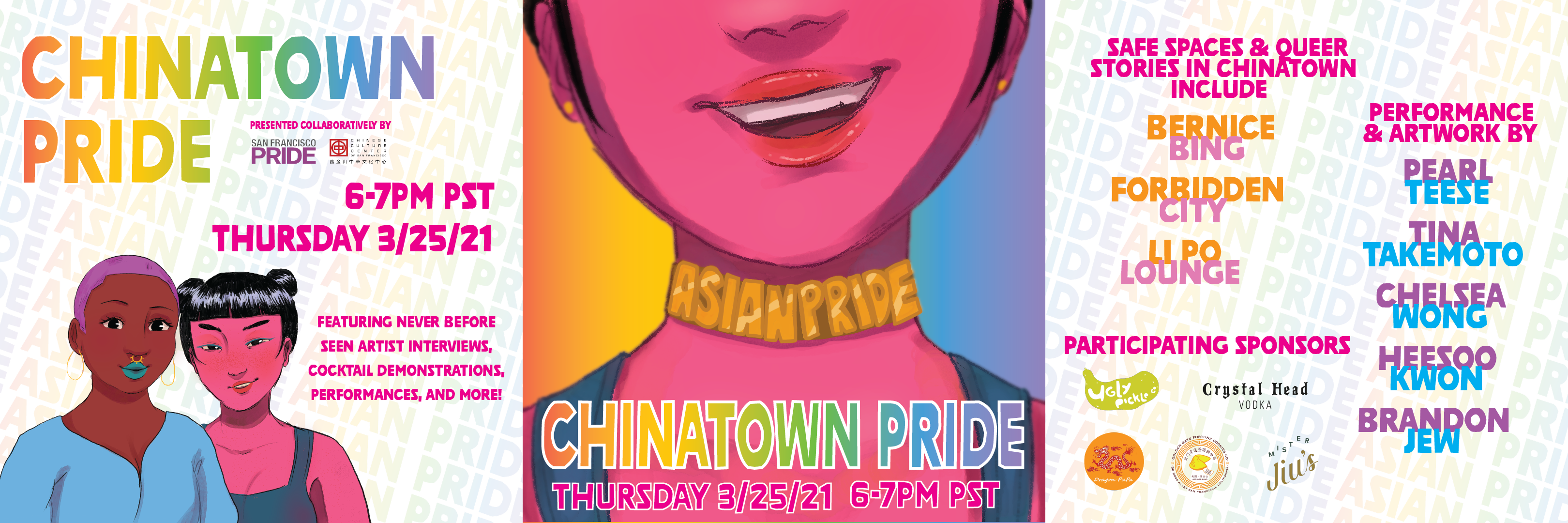 a series of images showing the date and time of chinatown pride, along with performer and sponsor information, Event Graphics for Chinatown Pride from artist Cyan San San Chang